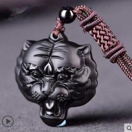 Carved Jade Red Pendants Australia - Hand carved Natural obsidian tiger Head pendant amulet Jade pendant necklace