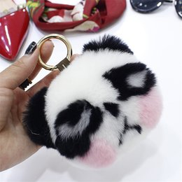 trinket toys Australia - Cute 11CM panda Fashion Soft Rex Fur Keychain Raccoon Fur Pom Pom Pendant Toy Bag Charm Car hanging trinkets Key chains