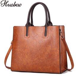 Hand Bag Large Brown Australia - 2018 Women Bag Pu Leather Handbags Ladies Large Hand Bags Female Square Shoulder Messenger Bag Women Vintage Tote Bag Sac A Main J190426