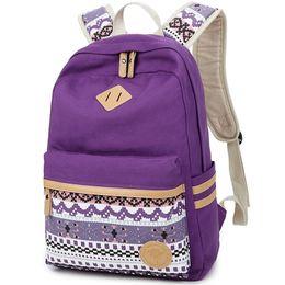 96c933532020 Women Backpack For School Teenagers Girls Vintage Stylish Ethnic School Bag  Ladies Backpack Female Purple Back Pack 511