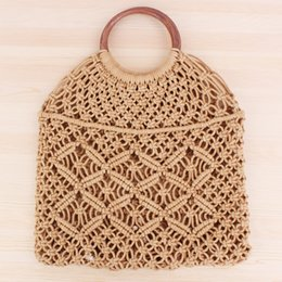 $enCountryForm.capitalKeyWord Australia - Popula Cotton Rope Hollow Straw Bag Sheer Macrame Tote wooden ring rattan handle Net Bag Vintage Retro Chic handbag