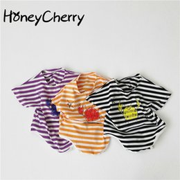 triangle candy bags UK - 2020 Summer newborn bodysuit New Baby Candy Color Cute Graffiti Striped Triangle Crawling Clothes Baby's Bag Fart bodysuit