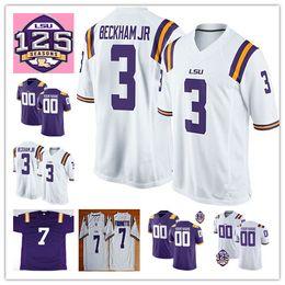 NCAA LSU Tigers 3 Odell Beckham Jr Hot Sell Jersey 7 Leonard Fournette  Tyrann Mathieu Patrick Peterson 5 Derrius Guice 125th Football Jersey 2e66a2b5a