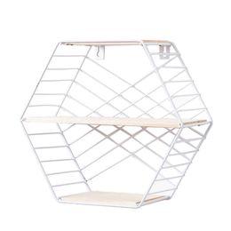 $enCountryForm.capitalKeyWord UK - Foating Hexagon Shelves Wall-Mounted Geometric Metal Wall Decor for Photos Display for living room and bath room