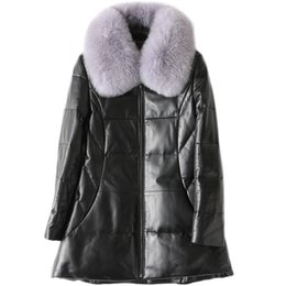 Discount genuine leather collars - High Quality Women Real Leather Jacket Detachable Natural Fox Fur Collar Genuine Leather Sheepskin Coats Winter Down Jac