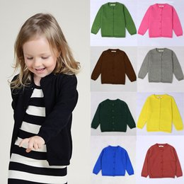 $enCountryForm.capitalKeyWord Australia - 20colors Little Girls Cute Crew Neck Button Down Solid Fine Knit Cardigan Sweaters Baby Girls Boys Knit Cardigan Button Sweater for 12M-6T