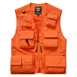Wholesale khaki waistcoat mens resale online - Fashion Vest Men Summer Mesh Men Vest Fishing Photography Mens Vests Plus Size M XL Waistcoat With Many Pockets