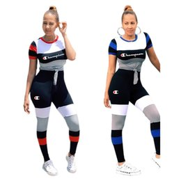 Women strip t shirts online shopping - strip Splicing Champions Letter Women Sports Suit Striped Patchwork T shirt Top tees Pants Piece Set Tracksuit Casual Outfit S xl C3251