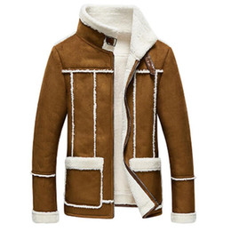 lamb suede 2019 - Wholesale- 2017 new winter suede jacket with a short section of Korean male cashmere Jacket Mens jacket Lamb Fur Collar