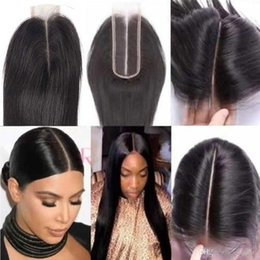 Human Hair Closure Brazilian Straight Closure Natural Extensions 2x6 Lace Closure 100% Human Hair Bleached Knots With Baby Hair