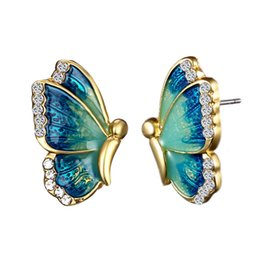 Chinese  Oil Painted Butterfly Stud Earrings Rhinestone Wild Animal Female Women Birthday Party Jewelry Girls Best Gift 3 Colors manufacturers