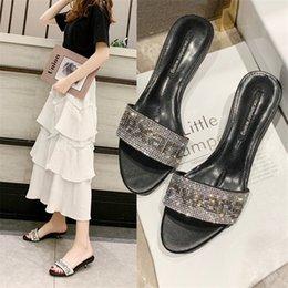 Shiny SlipperS online shopping - brand designer fashion shiny Rhinestone peep toe high quality English letters outdoor women slippers sapato feminino