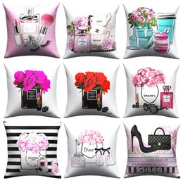 $enCountryForm.capitalKeyWord Australia - High quality Short plush hand painted perfume bottles cushion cover Sofa Pillow Case Home Decor Throw Couch Pillowcase