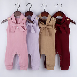burgundy pullover Australia - Children's sleeveless pit strip jumpsuit robe romper + hair band children's clothing boy and girl suit