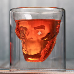 Glass Cup Layer Australia - Bar Skeleton Wine Cup Coffee Beauty Water Cup Crystal Skeleton Beer Cup Creative Double Layer Transparent Glass Wholesale