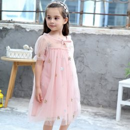 b9388dc4503 Kids Girls Dress New Summer 2019 Sequins Embroidery Stars Mesh Fluffy Baby  Dress Cotton Lined children s clothing