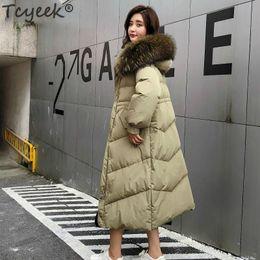 $enCountryForm.capitalKeyWord Australia - Tcyeek Winter Down Jacket Women 80% White Duck Down Parka Real Raccoon Fur Hooded Long Coat Female Doudoune Femme Lwl1238