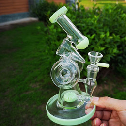 "glass hookah oil bubbler Australia - 2019 Newest Glass Bongs 8"" Small Water Bong Double Recycler Dan Oil Rig Slitted Donut Perc Water Pipes Hookahs Bubbler With Bowl XL320"