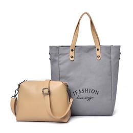 389affaf5ee8 Modern Creative Fashion 2pcs set Women Canvas Leather Handbag Ladies  Shoulder Bags Tote Purse Messenger Satchel