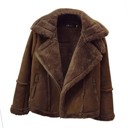 brown parka women UK - Women's Fur Coat Winter Faux Sheepskin Lamb Plus Size XS To 4XL 5XL 6XL Thick Fur Coat Black Grey Brown Suede Jackets Warm Parka
