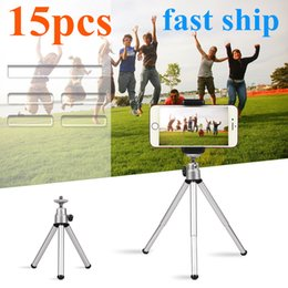 Wholesale 15pcs Silver Color Travel Stand Holder Camera Mini Tripod for Smartphone for Go pro7 iphones Huaweixiaomi