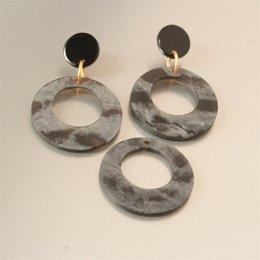 $enCountryForm.capitalKeyWord Australia - 4pcs Black Marble Resin Circle Earring Charms, O Shaping Neklace Pendants, 35mmmm Jewelry DIY