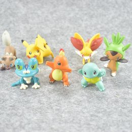 Red Figures Australia - High Quality TOMY 4CM Froakie Chespin Pikachu Action Figures Doll Cartoon Game Figures Toys Kids Toys For Children's Gifts