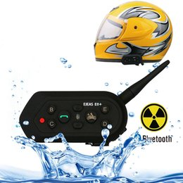 bluetooth interphone riders NZ - EJEAS E6 Plus 1200m IP65 Waterproof 6 Users Connetion Riders Bluetooth Multi-Interphone Headsets for Motorcycle Helmet With Handle   Remote