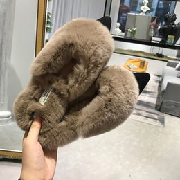 49bdf1926307 Celebrity Flat Shoes NZ - Rabbit fur flats mules slippers celebrity girls  winter pointed toe furry