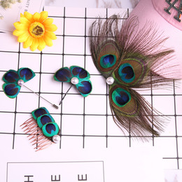 Wholesale Handmade Peacock Feather Hair Clip Hair combs Fashion Hair Decor Hairclip for Girls Queen Accessories Brooch Gift