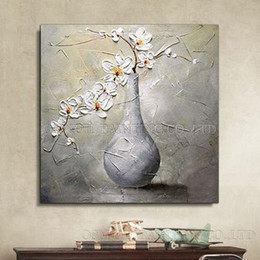 modern flower oil painting canvas Australia - Modern Abstract Hand Painted High Quality Vase Flower Oil Painting on Canvas Home Decor White Flower for Wall Art Multi Sizes l57