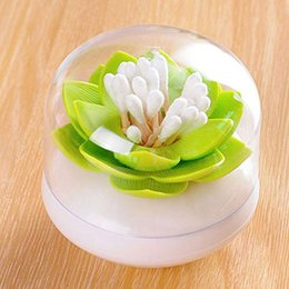 swab holder UK - Creative Lotus Toothpicks Holder Cotton Swab Box Cotton Bud Holder Case Table Decorate Storage Box Organizer Useful Diam 8.1CM