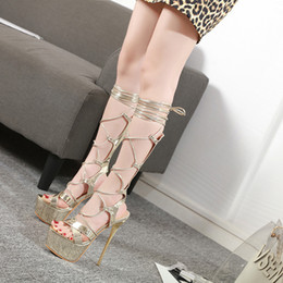 Cross Bandage High Heel Australia - Sunshine2019 Crossing Year Bandage Sandals Woman Fine With High-heeled Waterproof Platform Women's Shoes