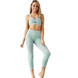 women s workout sets UK - Women Solid Color Sport Suit Yoga Set Moisture Wicking Slim Hip Fitness Gym Set Running Suit Sportswear Pants Workout Clothing
