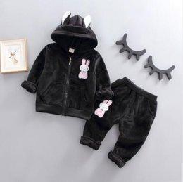 $enCountryForm.capitalKeyWord Australia - Autumn Winter Children Boys Girls Velvet Clothing Sets Baby Cartoon Rabbit Hoodies Pants 2Pcs Sets Fashion Toddler Tracksuits