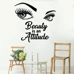 MediuM eyelashes online shopping - Beauty Is An Attitude Girl Eyes Quotes Beautiful Wall Stickers Decal Vinyl Wall Decor Art Eyebrows Eyelashes Salon Murals