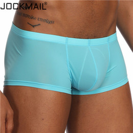 Wholesale Mens White Boxer Shorts Australia - Jockmail New Sexy Transparent Boxer Shorts Mens Trunks Ice Silk Male Panties Underpants Cuecas Gay Underwear C19041801