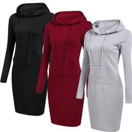 $enCountryForm.capitalKeyWord UK - Wholesale 1 3 Colour S-2XL Women Knee Length Casual Hooded Pencil Hoodie Long Sleeve Sweater Pocket Bodycon Tunic Dress Top