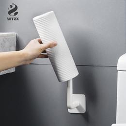 Vente en gros 2pcs / lot solide crochet sans soudure Autocollant Mural papier porte-serviettes en tissu Hanging Cuisine rouleau Porte-papier hygiénique salle de bains
