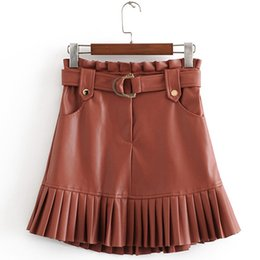 brown faux leather belt UK - 2019 PU Skirts Women Fashion Faux Leather Brown Elegant Tie Belt Waist Pockets Mini Pleated Skirts Female Ladies MG887