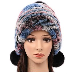 fur pom hats Australia - (TopFurMall) Multi Color Genuine Knitted Fur Bomber Hats Pom Poms Winter Warm Caps Fashion Ear Protector Headgear LF6000