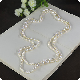 Hot Pink Chain Australia - Hot Sell Elegant Natural White Pink Purple 3-4 Mm 9-10 Mm Freshwater Pearl Sweater Chain Necklace 160 Cm Long Fashion Jewelry J190530