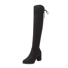 boots warm up Australia - New Flock Leather Women Over The Knee Boots Lace Up Sexy High Heels Women Shoes Lace Up Winter Boots Warm