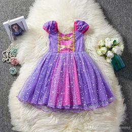 $enCountryForm.capitalKeyWord Australia - Toddler Baby Girl Dress Princess Cosplay Costume Girls Kid Birthday Party Children Clothes Bling Fancy Purple Tutu Gown Christmas Clothing