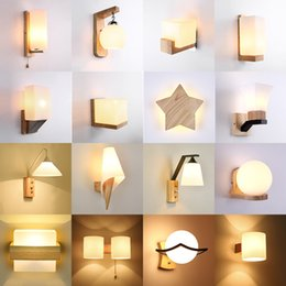 ressessed lights NZ - Nordic Solid Wood Led Wall Lamp Lustre Glass Living Room Led Wall Light Fixtures Bedroom Led Lights Corrdior Wall Sconce