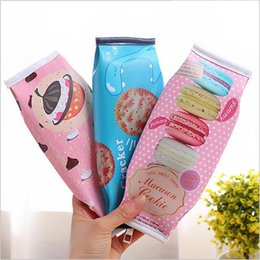 Pencil Cosmetics Australia - Peculiar Simulation Biscuit Pencil Case Large-Capacity PU Waterproof Stationery Bag Cosmetic Bags Office School Supplies PPA390