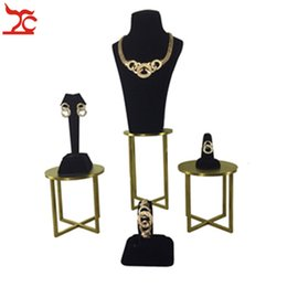 Rings Showcase Australia - Gold Stainless Steel Jewelry Display Window Showcase Black Velvet Bracelet Holder Earring Necklace Ring Watch Organizer Display Stand Kit