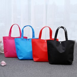 reusable woven shopping bags NZ - Durable Reusable Non-Woven Button Shopping Bags 2019 Large Capacity Foldable Tote Pouch Handbag Travel Storage Grocery Eco Bags