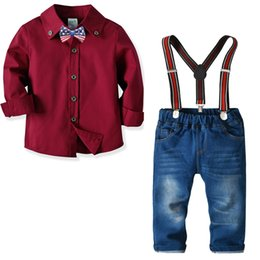 1d7c25fca6 Cute Kids Boys Outfits Suits Burgundy Red Bow Shirts Tees and Overall Denim  Pants 2pcs Sets Spring Autumn Vintage Clothes
