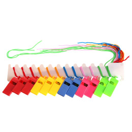 "game lanyards UK - New Arrival World Cup Cheerleading Plastic Whistle With Lanyard ""OK"" Designs Pure Color Whistles Kids Toys Sports Game Accessories"